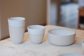 Tasses et bol - grès porcelainique